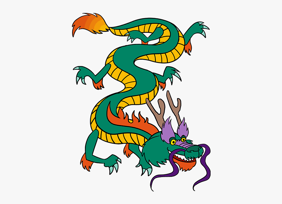 How To Draw A Chinese Dragon Easy Drawing Guides - Cartoon Chinese Dragon Png, Transparent Clipart
