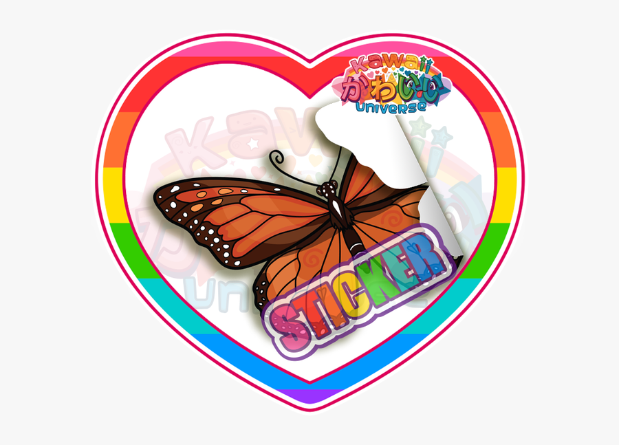 Cute Monarch Butterfly Sticker - Transparent Cute Design Sticker, Transparent Clipart