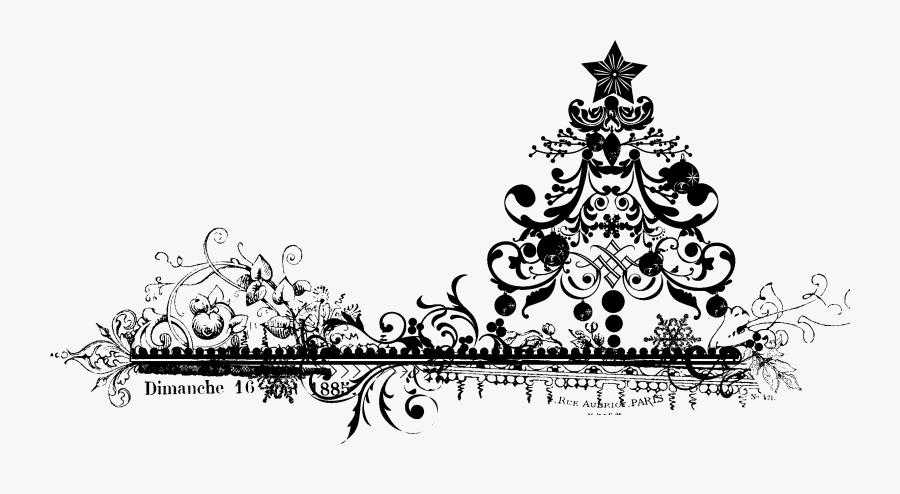 Snowflake Border Black And White Png Transparent - Vintage Santa Free Clip Art Black And White, Transparent Clipart