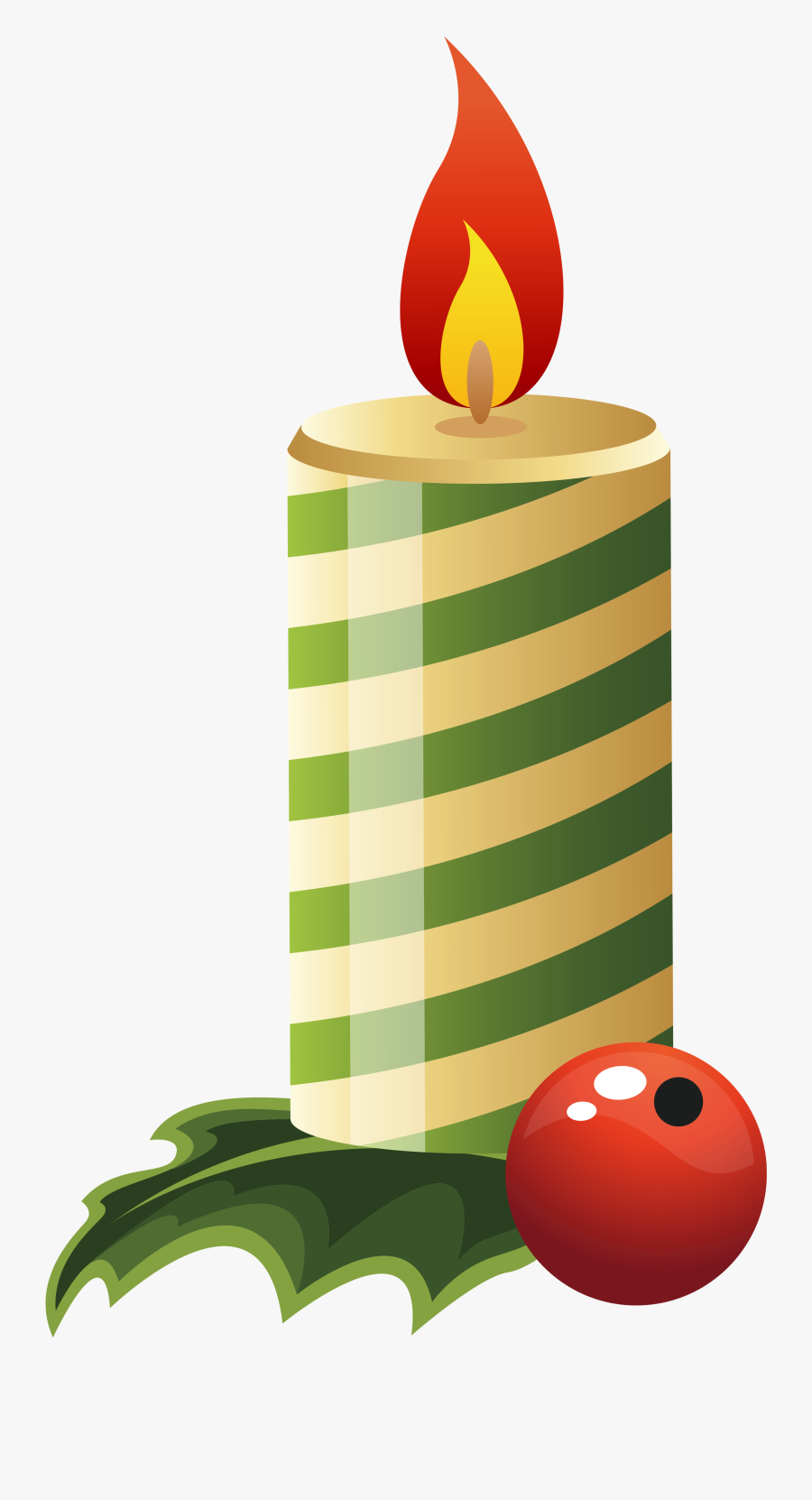 Green Christmas Candle Png Clipart Image - Candle Lamp Clipart Christmas, Transparent Clipart