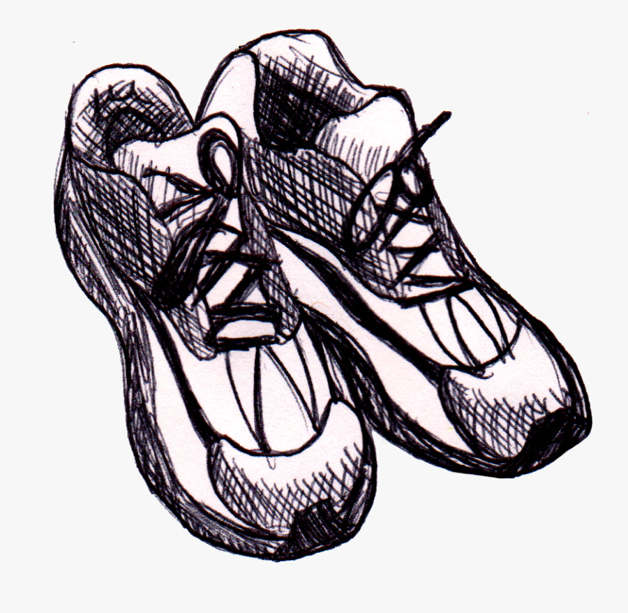 Runners Shoe Drawing - Drawing Of Running Shoes, Transparent Clipart