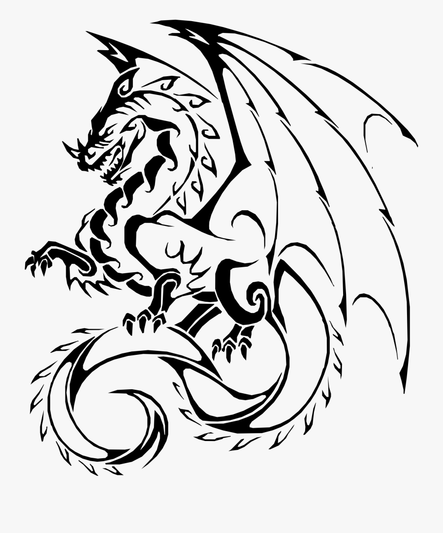 Transparent Fire Breathing Dragon Clipart - Cool Dragon Drawing Easy, Transparent Clipart