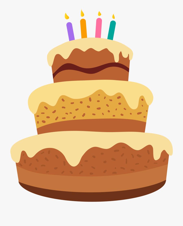 Three Tiered Birthday Cake With Candles Cartoon Clipart - Happy Birthday Cake Cartoon, Transparent Clipart