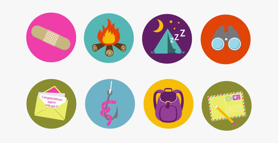 Summer Camp Illustration Icons Free Vector And Png - Summer Camp Badges, Transparent Clipart