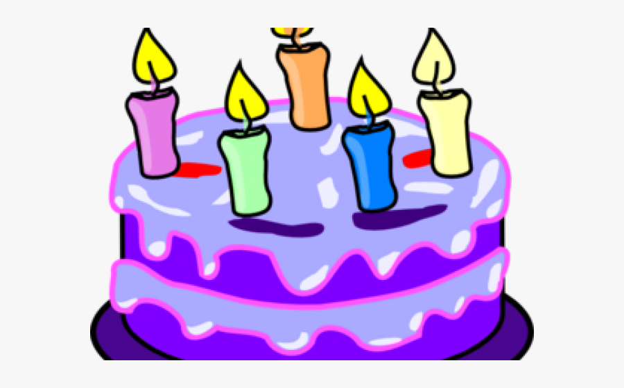 Birthday Candles Clipart Purple - Birthday Cake 5 Candles, Transparent Clipart