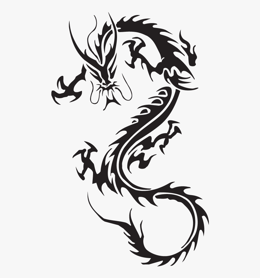 Tribal Dragon Tattoos Ink Ideas And Designs - Dragon Tattoo No Background, Transparent Clipart