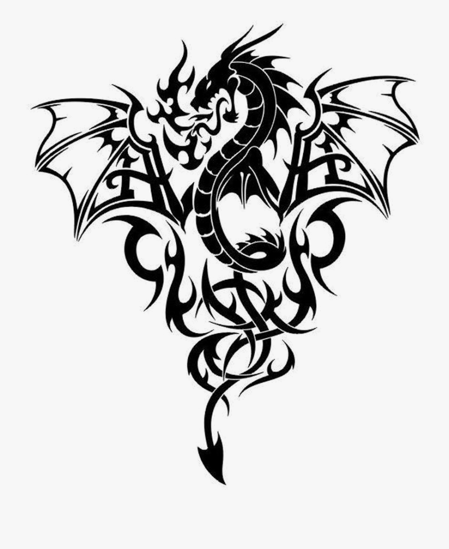 Line Art Dragon Tattoo, Transparent Clipart