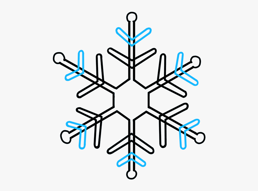 How To Draw A - Step By Step Snowflake Drawing Easy, Transparent Clipart