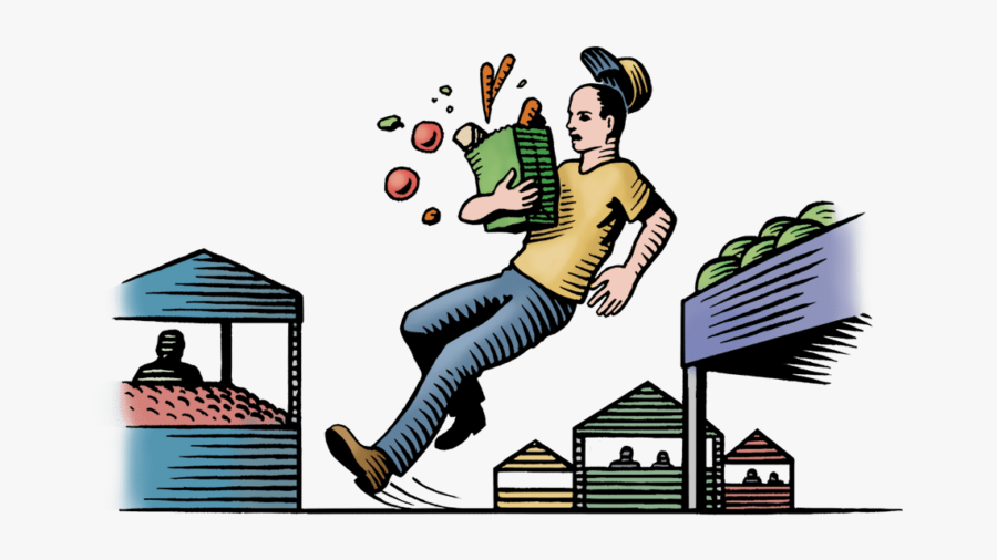 Woodcut Illustration Of A Man Slipping At A Farmers - Clipart Vegetable Market Transparent, Transparent Clipart