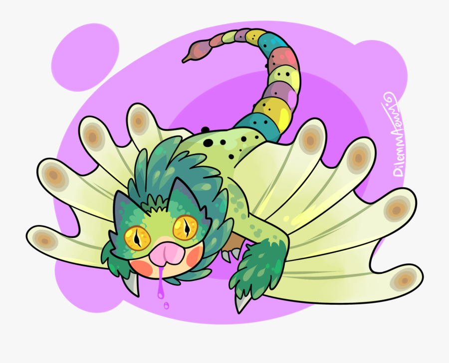 """ Its Da Pukei Pukei This Cute Cat Chameleon Dragon - Monster Hunter World Pukei Pukei Draws, Transparent Clipart"