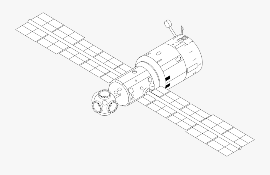 Collection Of Free Satellite Drawing Easy Download - Space Station Line Drawing, Transparent Clipart
