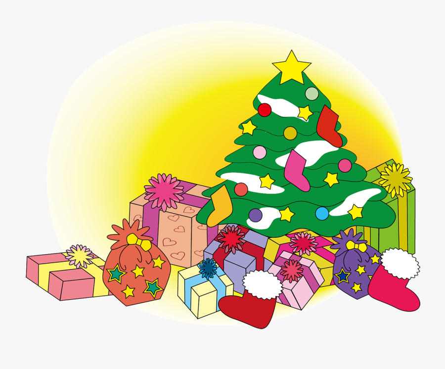 Christmas, Winter, Tree, Gift - Christmas Trees And Presents Clipart, Transparent Clipart