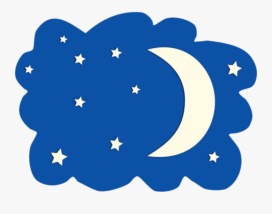 Transparent Moon Clip Art - Night Stars And Moon Clipart, Transparent Clipart