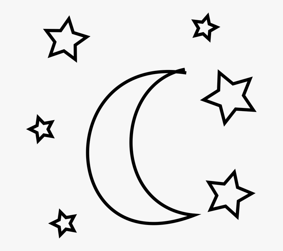 Moon And Star Doodle, Transparent Clipart