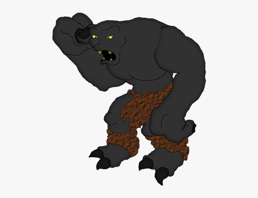 Character - Black Cartoon Monster Png, Transparent Clipart