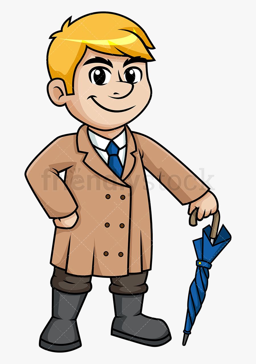 Coat Man Wearing Trench In The Winter Cartoon Clipart - Man In Coat Cartoon, Transparent Clipart