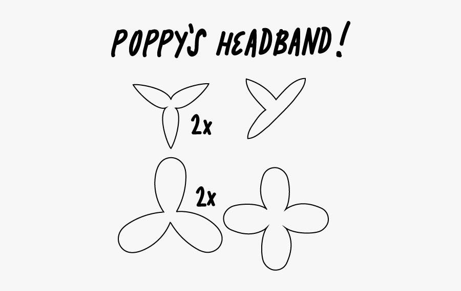Graphic Transparent Download Template For The Flowers - Poppy Troll Headband Template, Transparent Clipart