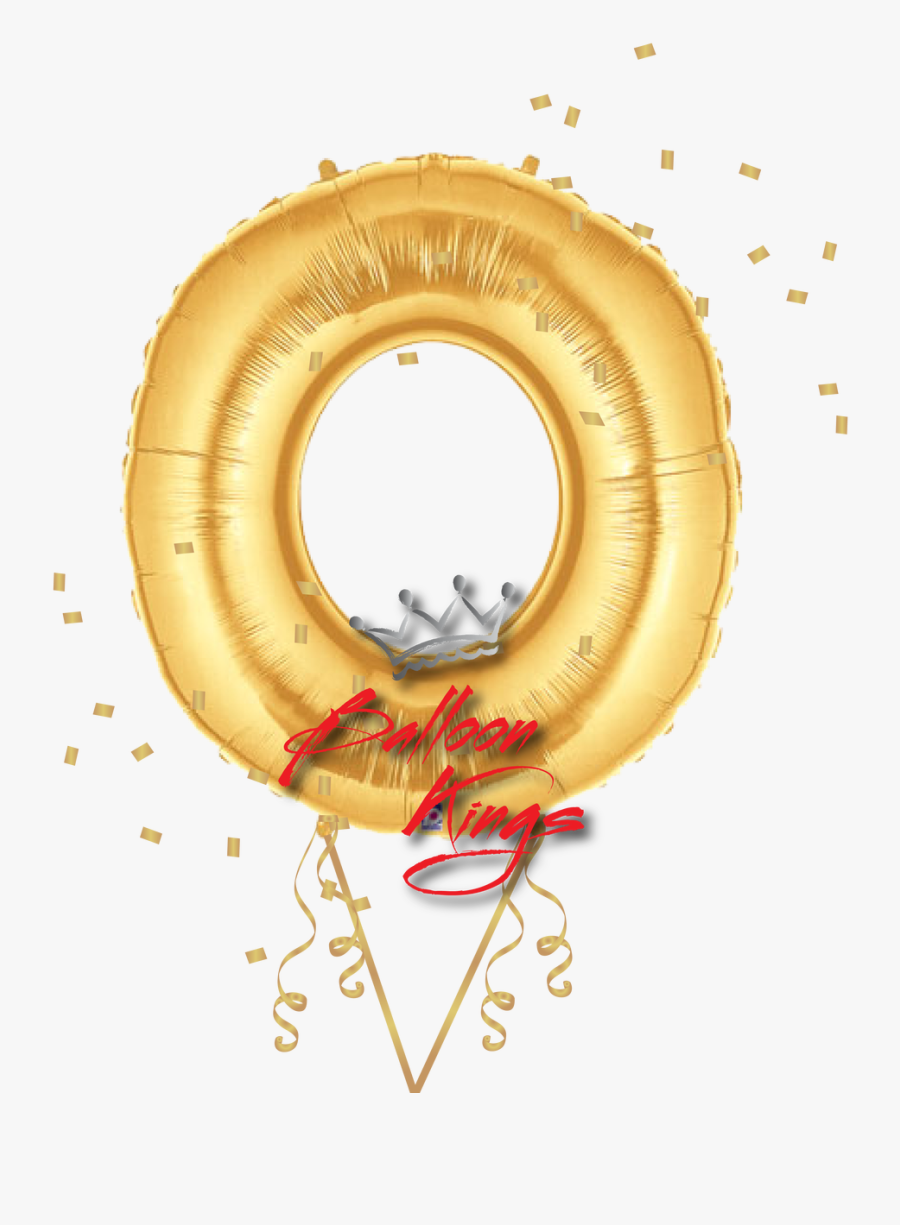 Gold Letter O - Gold Number Balloons 0, Transparent Clipart
