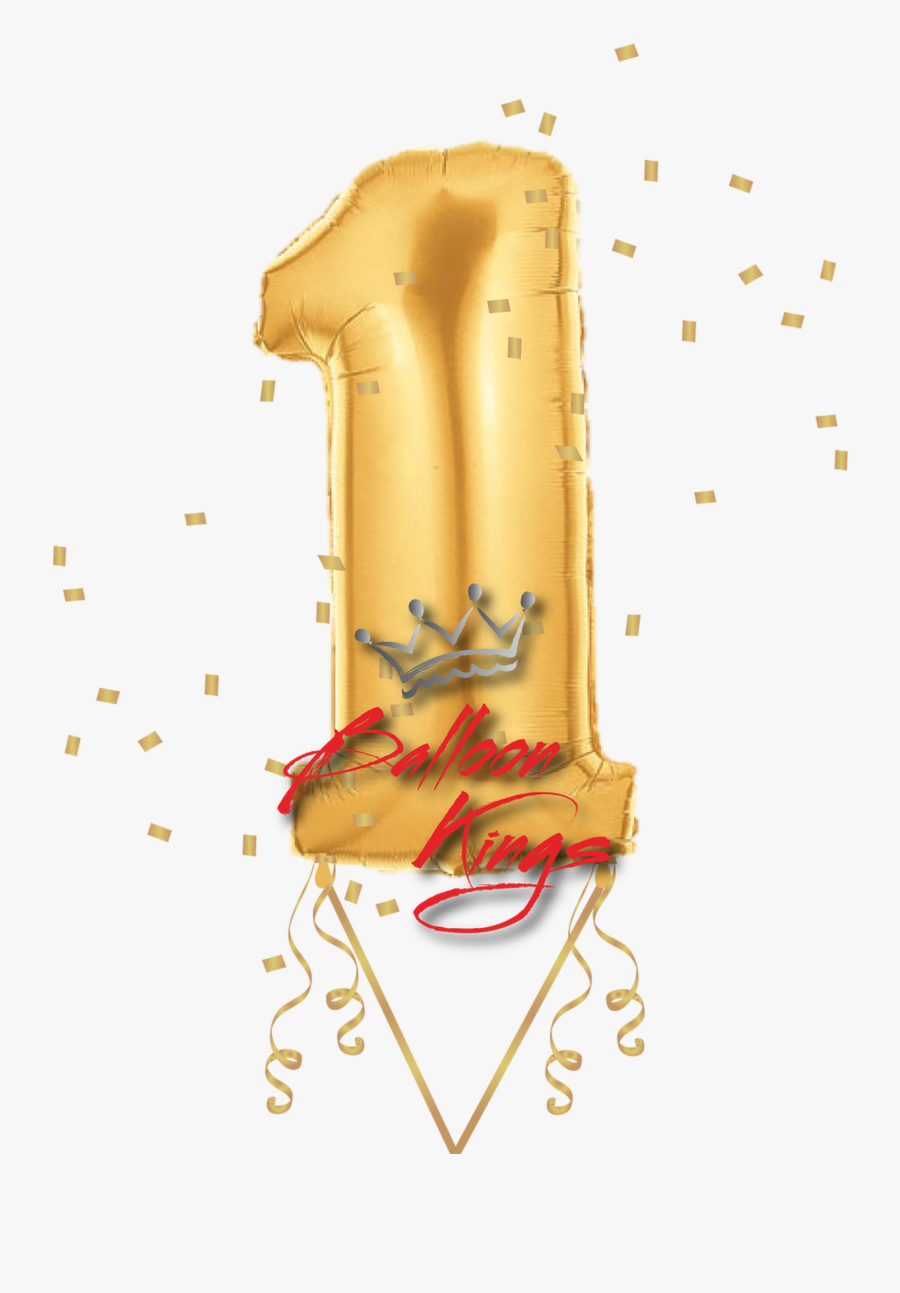 Gold Number - Balloon Shaped Like Number 1, Transparent Clipart