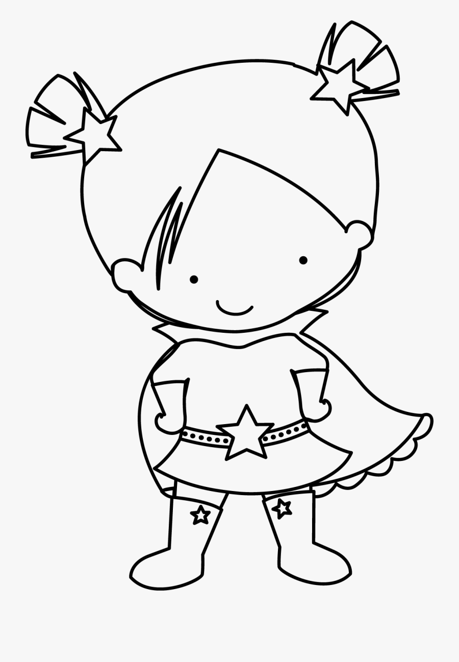 Super Girls Clip Art - Superhero Kids Clipart Black And White, Transparent Clipart