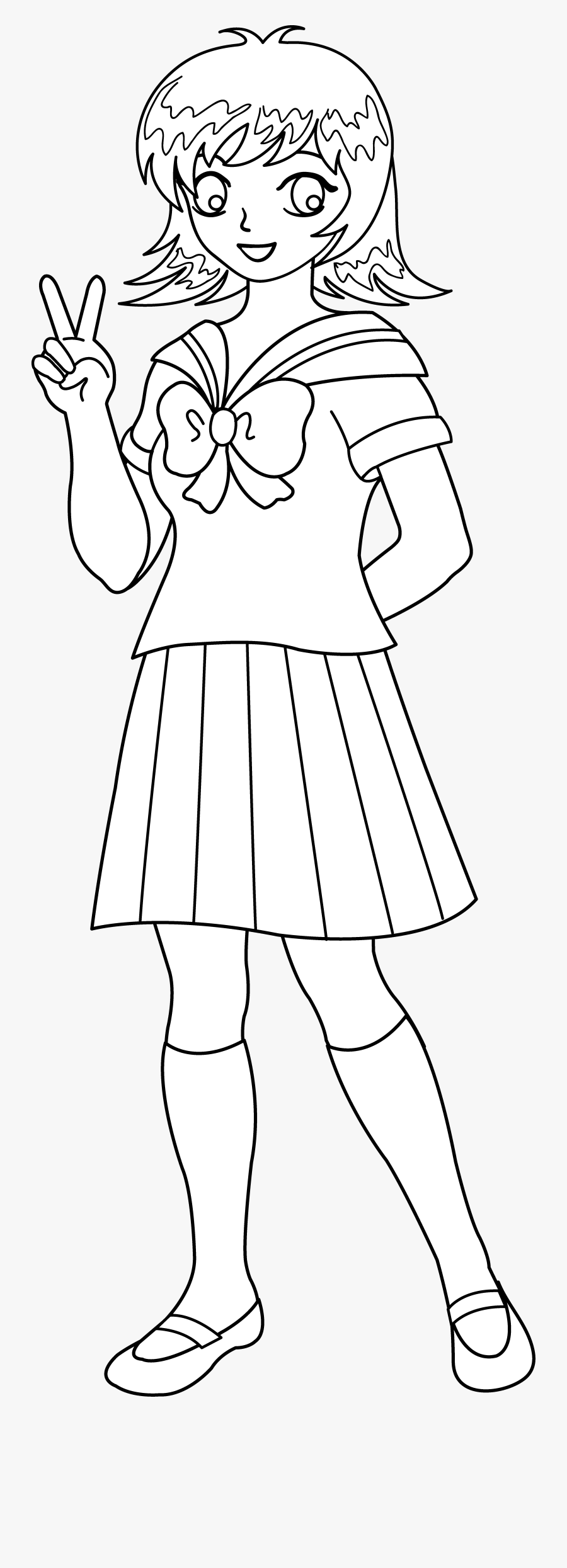 Anime Clipart Black And White - Clipart Black And White Anime School Uniform, Transparent Clipart