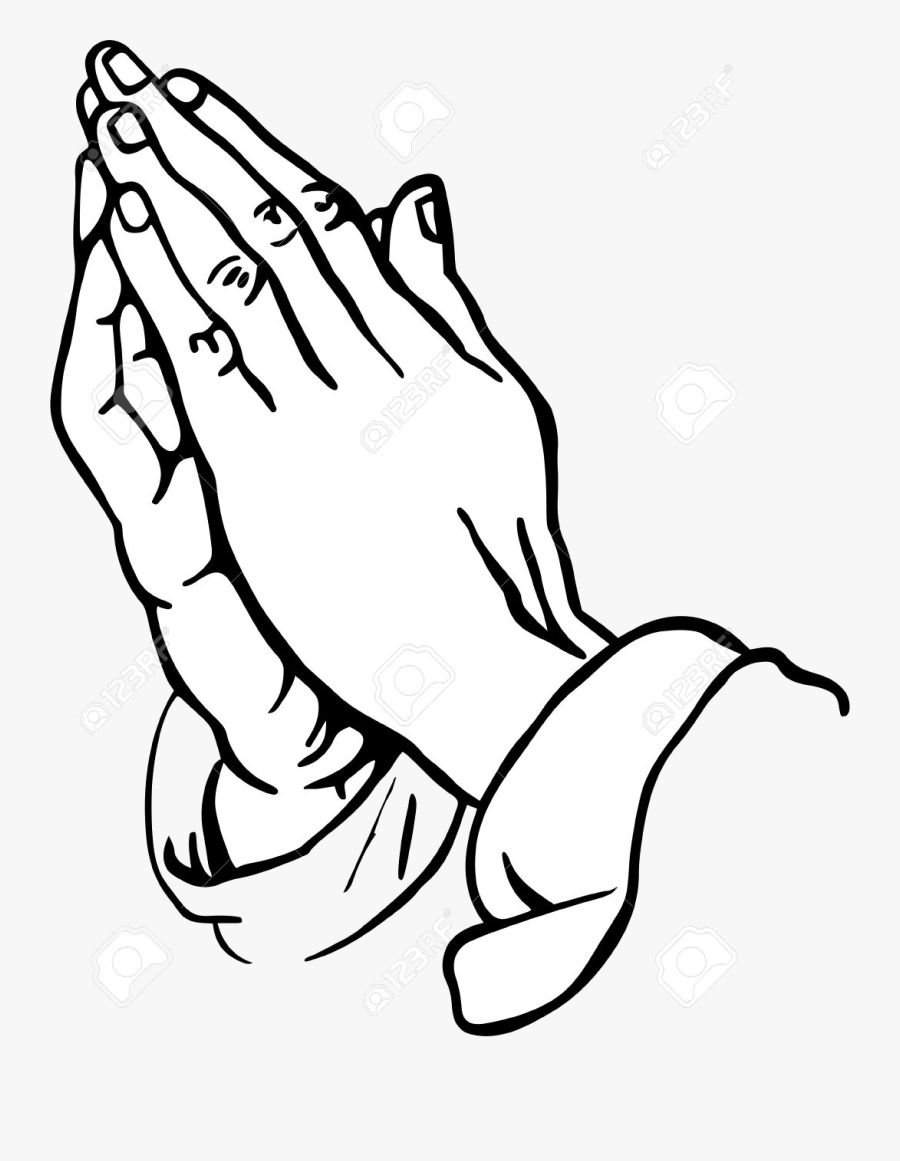 Praying Hands Namaste Clipart Collection Of Free Silhouette - Prayer Hands Tattoo Drawing, Transparent Clipart