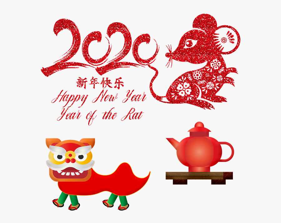 Chinese New Year 2020 Year Of The Rat - Merry Christmas And Happy New Year Chinees Free, Transparent Clipart