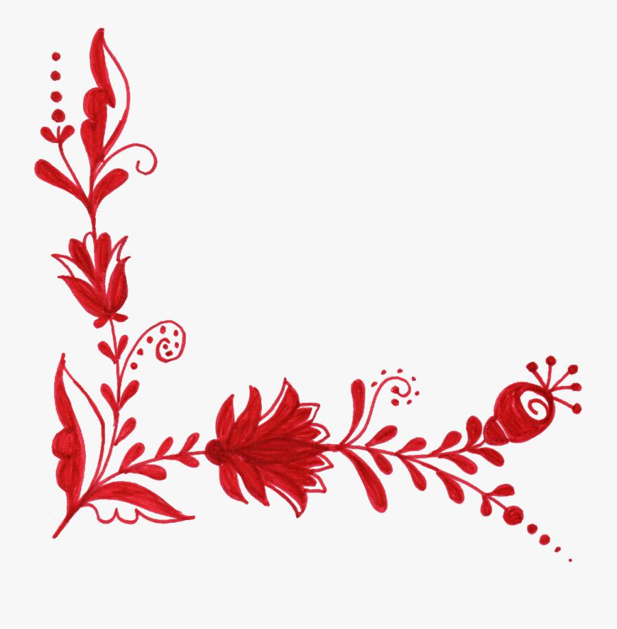 #floral #flowers #flower #fancy #elegant #elegance - Red Flower Border Design Png, Transparent Clipart