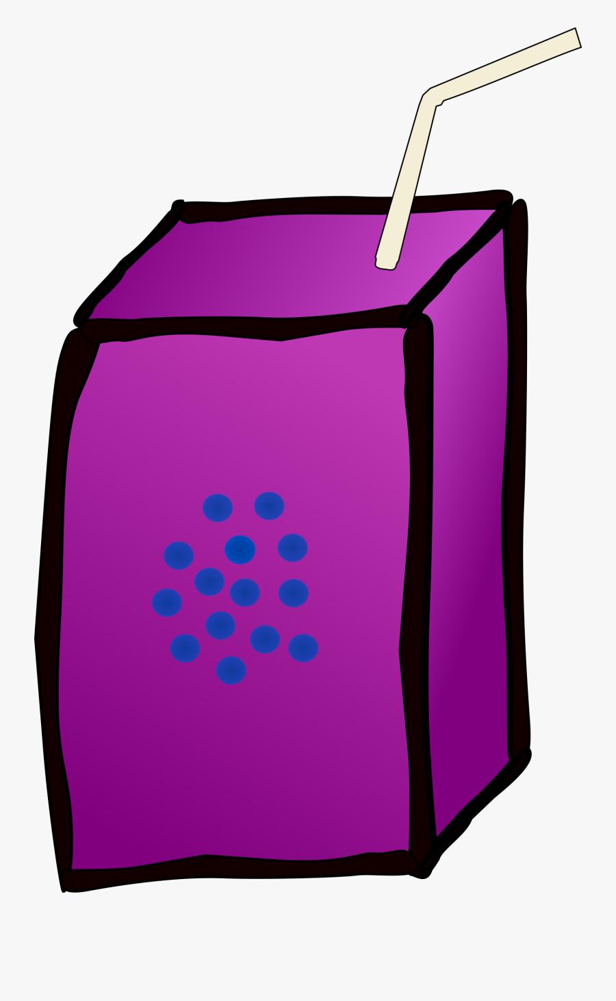 Juice Box Clip Art - Cartoon Juice Box Grape Juice, Transparent Clipart