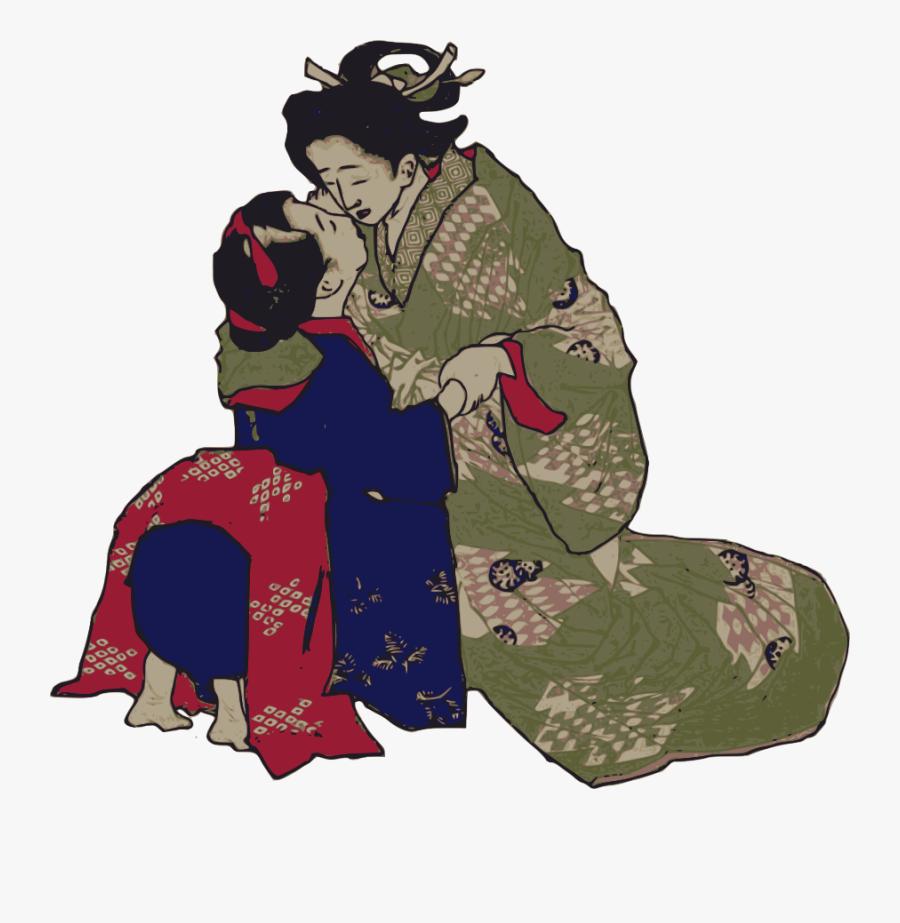 Kissing Geisha Svg Clip Arts - Geisha Kissing, Transparent Clipart