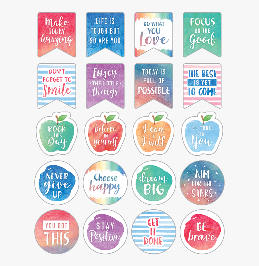 Watercolor Words To Inspire Planner Stickers - Free Planner Stickers Png, Transparent Clipart
