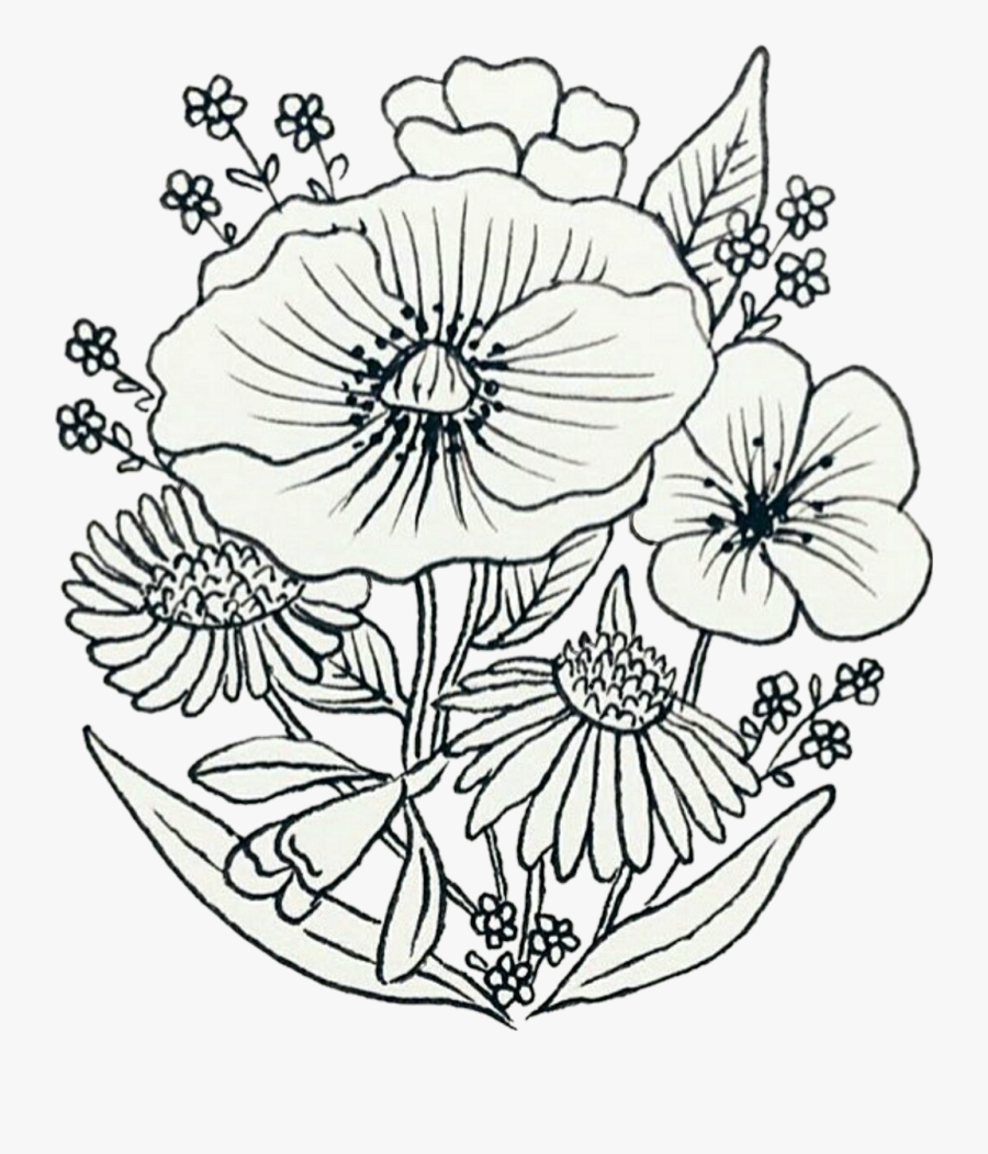 Flowers Sketch Patch Pin - Drawing Composition Of Flower, Transparent Clipart