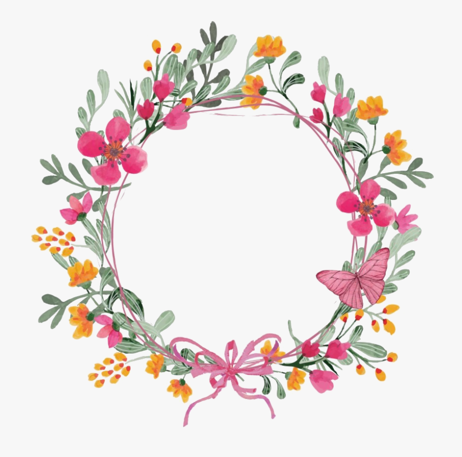 Modern Floral Garland Png Clipart - Flower And Butterfly Wreath, Transparent Clipart