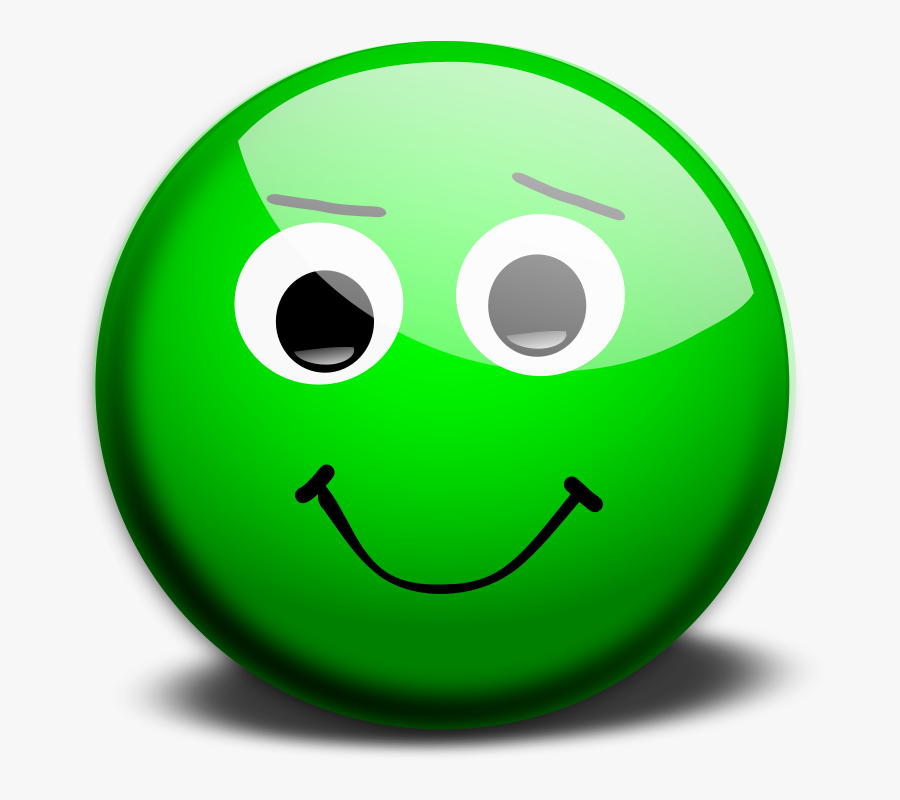 Transparent Confused Emoticon Png - Green Face Emoji Happy, Transparent Clipart