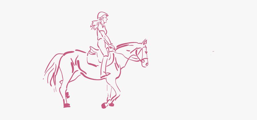 Girl Riding A Horse Vector Illustration - Clipart Girl Riding Horse Drawing, Transparent Clipart