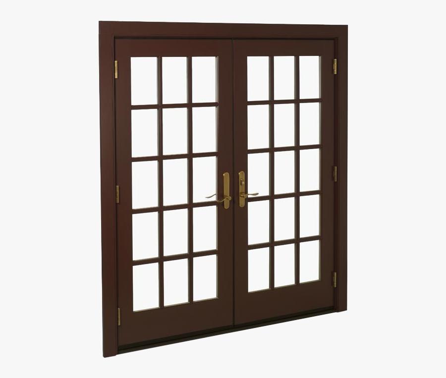 Door Clipart French Door - French Window Brown, Transparent Clipart