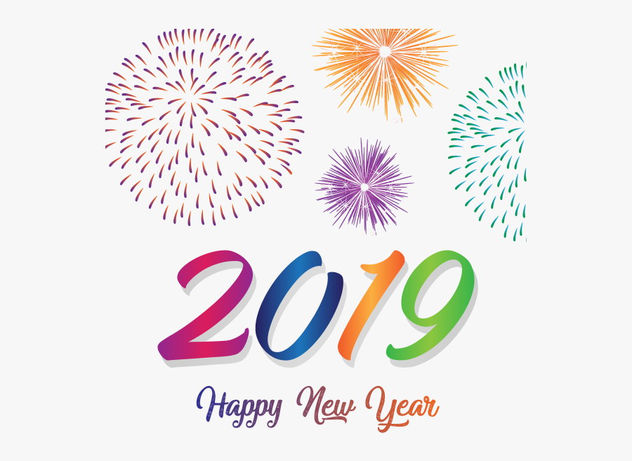 Transparent Fireworks Clipart Black And White - Happy New Year 2019 Images Png, Transparent Clipart
