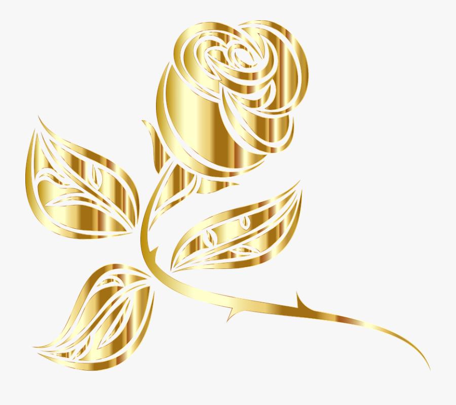 Gold Roses Clip Art, Transparent Clipart