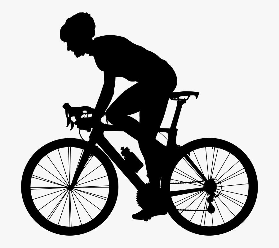 Transparent Ride Bike Clipart - Road Bike Silhouette Png, Transparent Clipart