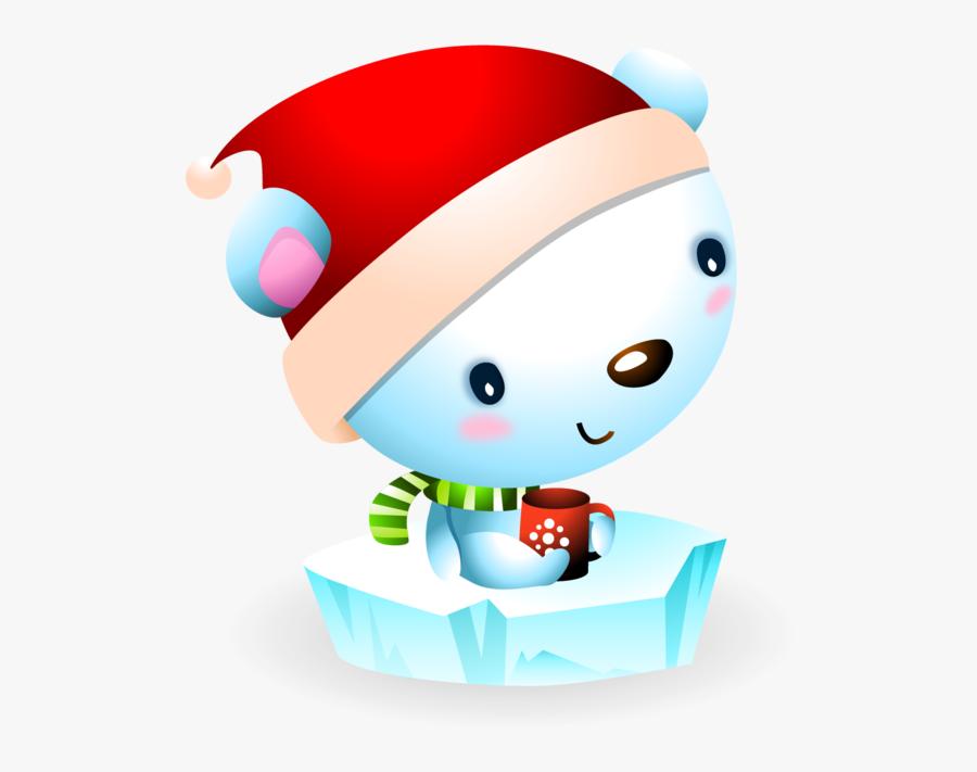 Baby Polar Bear On A Ice Floe With Santa Hat - Polar Bear, Transparent Clipart