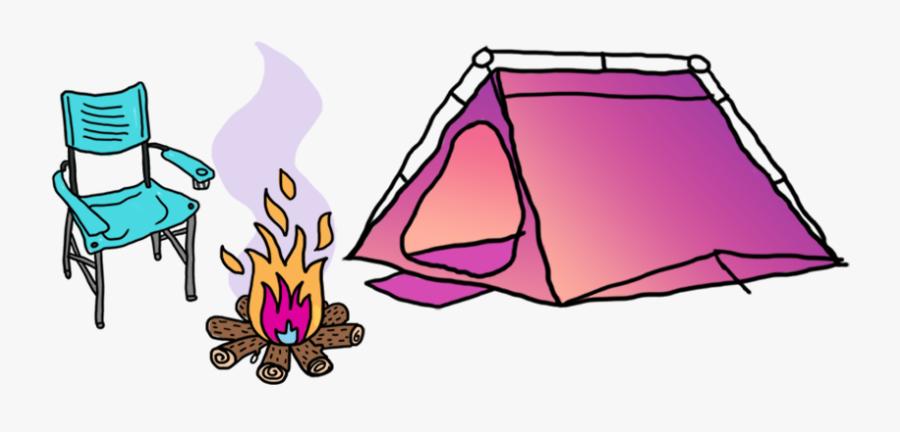 Clip Art Illustration Campsite Tent Camping - Pink Camping Tent Cartoon, Transparent Clipart