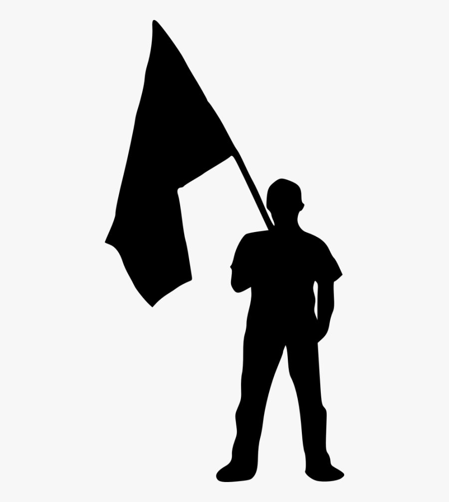 Person With Png Free - Man With Flag Silhouette, Transparent Clipart