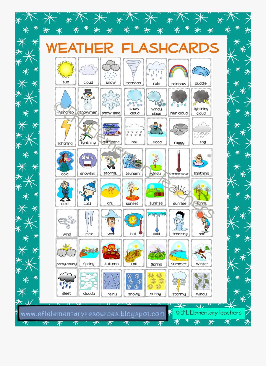 Esl Weather Flashcards, Transparent Clipart