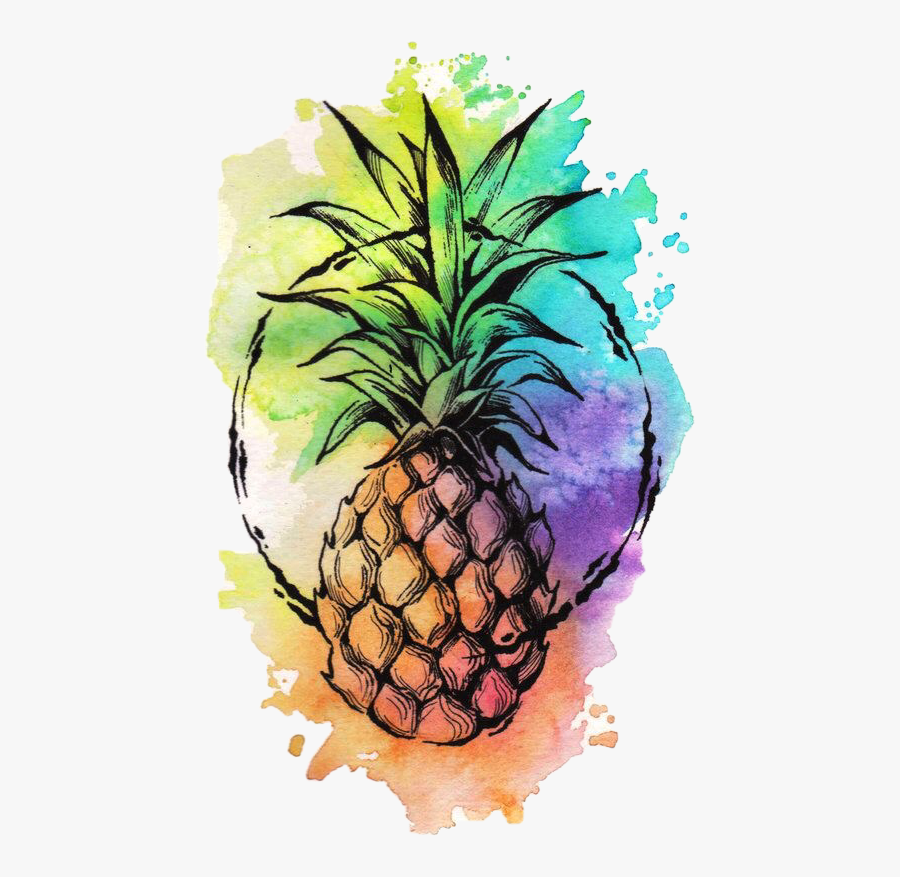 #freetoedit - Pineapple Watercolor Background, Transparent Clipart