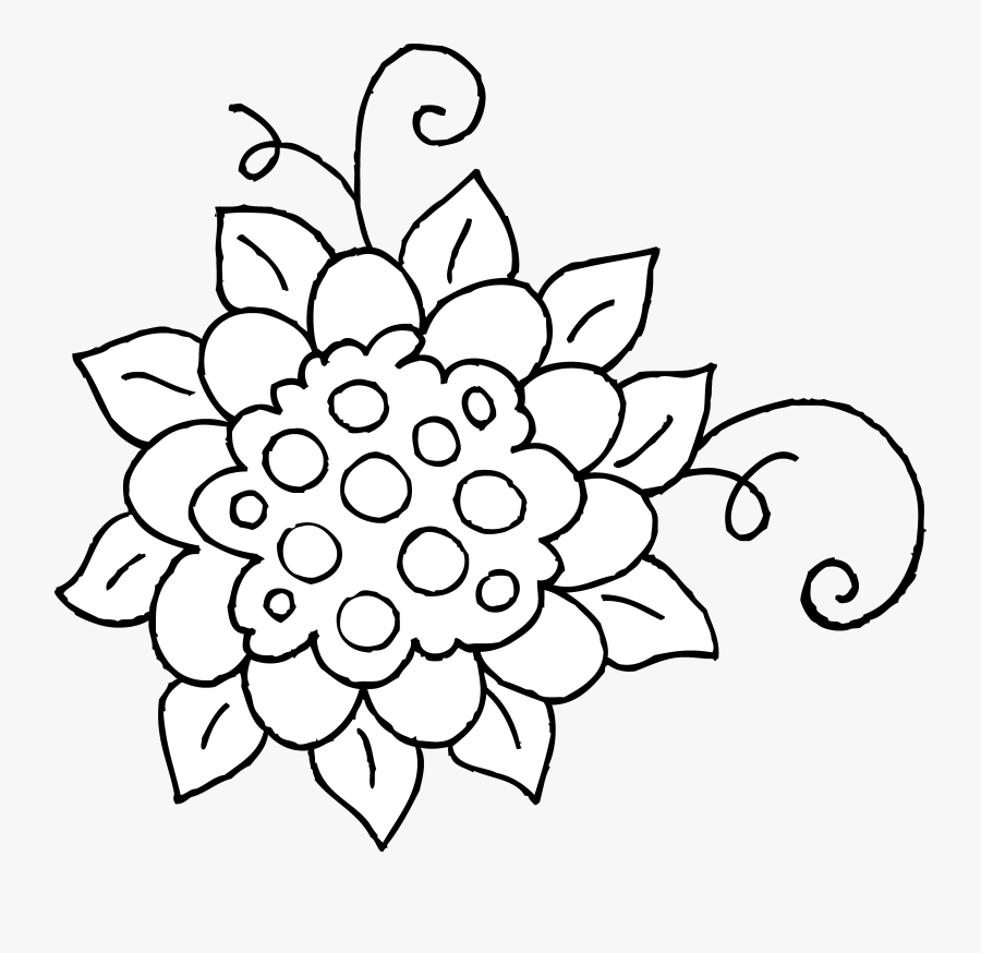 Black And White Flower Drawing Clip Art - Flower Clip Art For Coloring, Transparent Clipart
