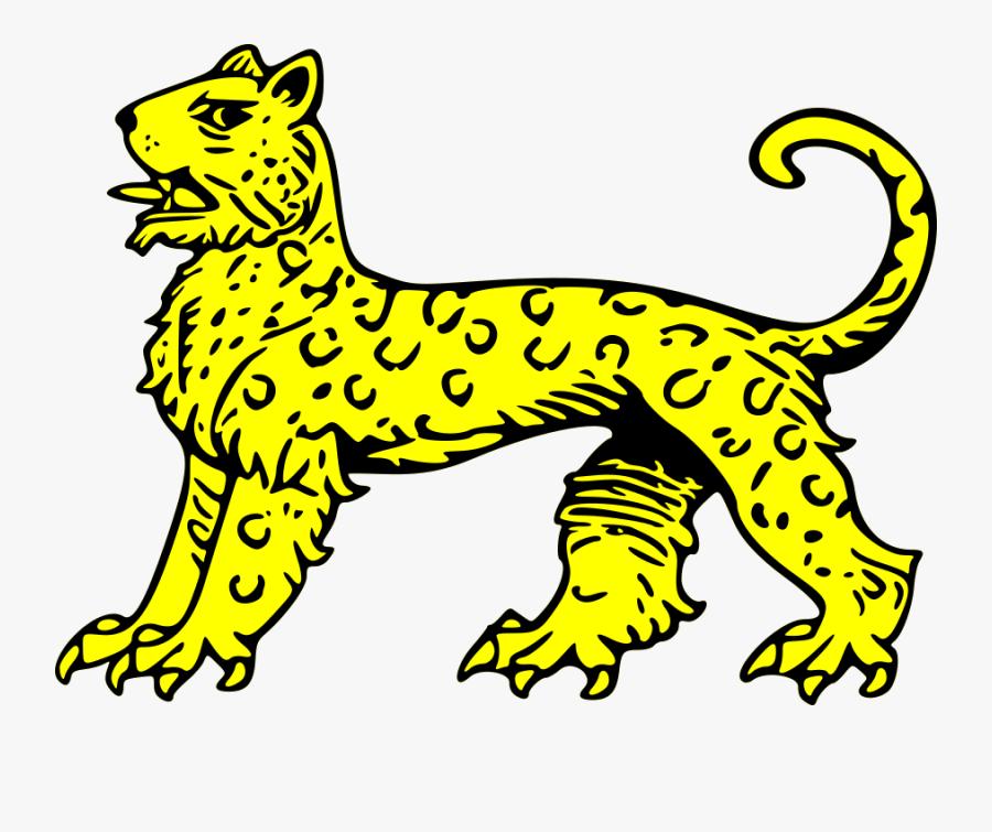 Leopard Passant Svg Vector File, Vector Clip Art Svg - Snow Leopard Coat Of Arms, Transparent Clipart
