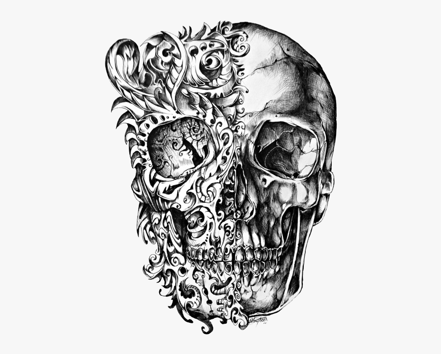 Cool Skull Tattoo Design Drawing Png - Skull Drawings, Transparent Clipart