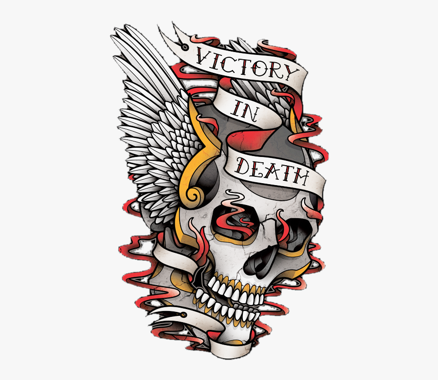 Transparent Traditional Clipart - Skull Tattoo Hells Angel Wings, Transparent Clipart