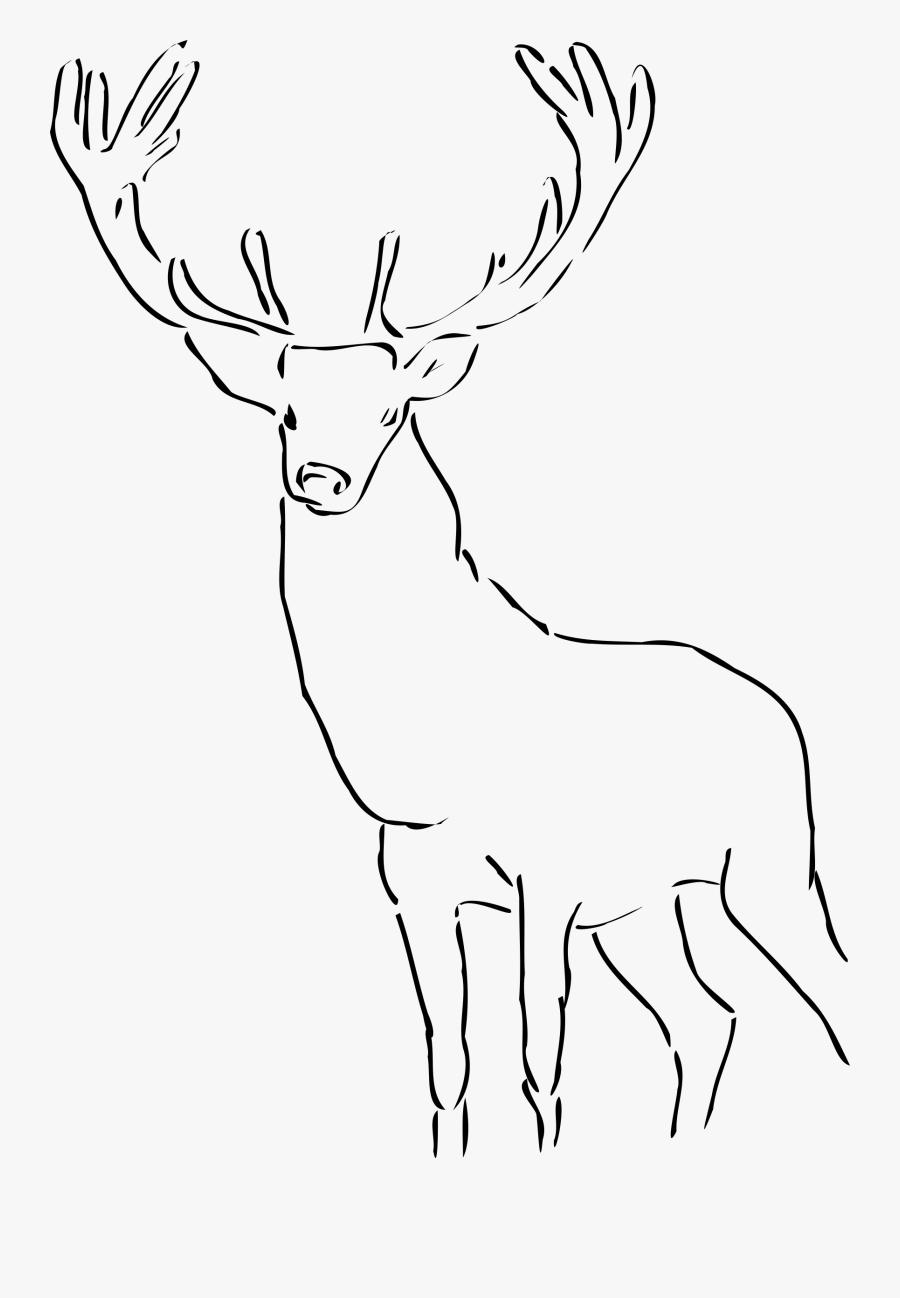 Red Deer Pronghorn Antelope Moose - Reindeer Clip Art Black And White, Transparent Clipart