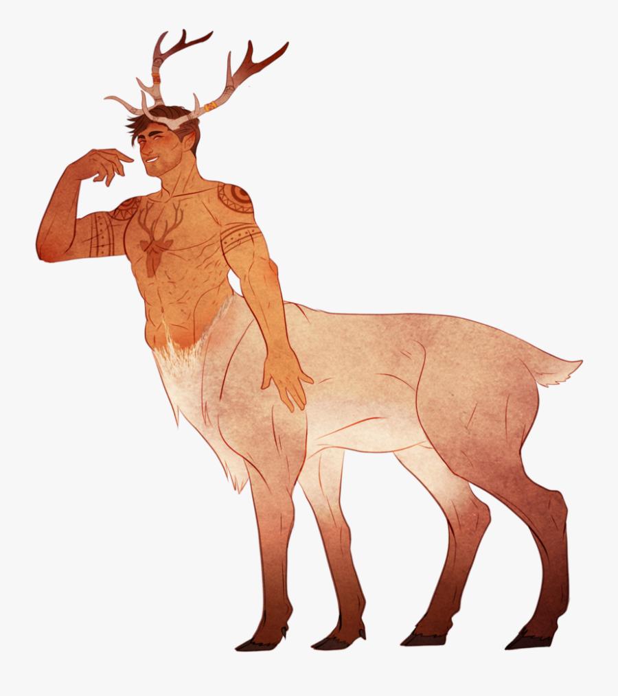 Antelope Drawing Elk - Centaur With Horns, Transparent Clipart